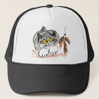 Kitten and a Feather Toy Trucker Hat