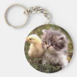 Kitten and Baby Chick Basic Round Button Keychain