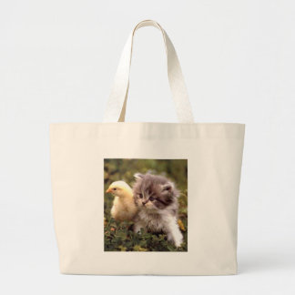 Kitten and Baby Chick Large Tote Bag