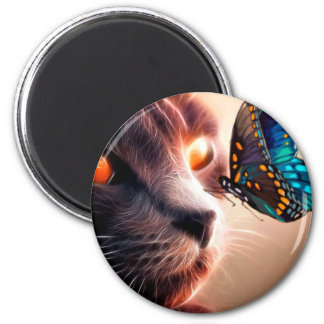 Kitten and Butterfly 2 Inch Round Magnet