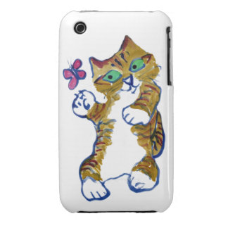 Kitten and Butterfly Cha-Cha-Cha iPhone 3 Cases