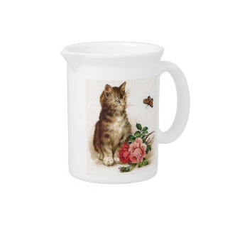 Kitten and Butterfly Drink Pitchers