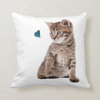 Kitten and Butterfly image for Polyester-Cushion Throw Pillow