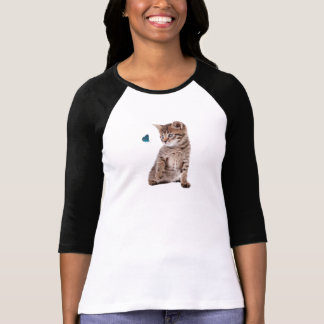 Kitten and Butterfly image for Women's-T-Shirt T-Shirt