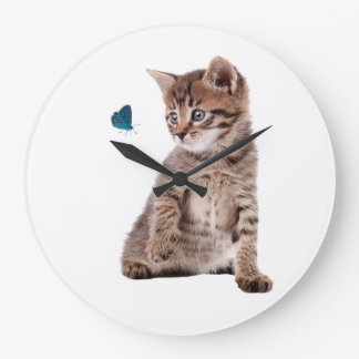 Kitten and Butterfly image  Round-Large-Wall-Clock Large Clock