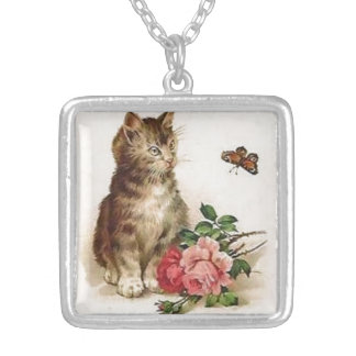 Kitten and Butterfly Silver Plated Necklace