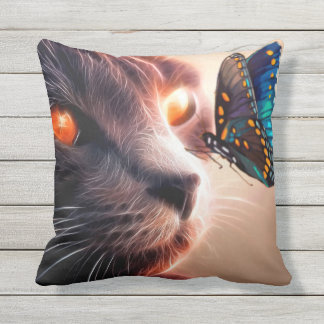 Kitten and Butterfly Throw Pillow