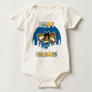 Kitten and Colorful Happy Holidays Baby Bodysuit