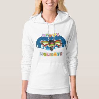 Kitten and Colorful Happy Holidays Hooded Sweatshirts