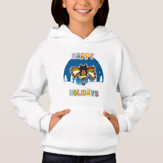 Kitten and Colorful Happy Holidays Hoodie
