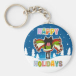 Kitten and Colorful Happy Holidays Key Chains