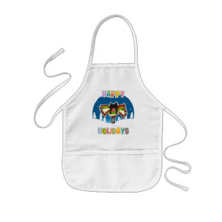 Kitten and Colorful Happy Holidays Kids' Apron