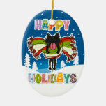Kitten and Colorful Happy Holidays Christmas Ornaments