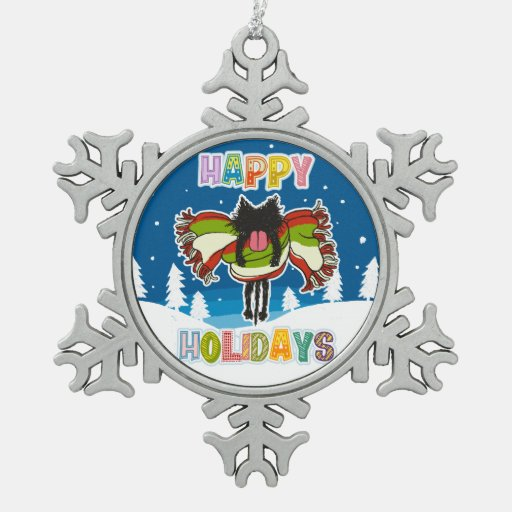 Kitten and Colorful Happy Holidays Snowflake Pewter Christmas Ornament