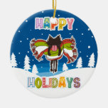 Kitten and Colorful Happy Holidays Christmas Tree Ornament