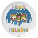 Kitten and Colorful Happy Holidays Party Plate