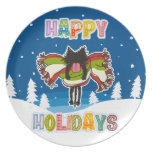 Kitten and Colorful Happy Holidays Plate