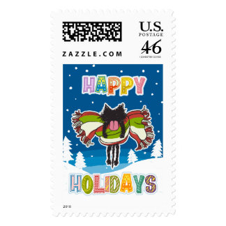 Kitten and Colorful Happy Holidays Stamps