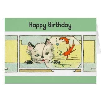Kitten and Fishbowl Birthday Card