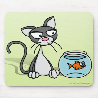Kitten and Fishbowl Mouse Pad