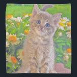 "Kitten and Flowers Bandana<br><div class=""desc"">Cute kitten surrounded by beautiful flowers.</div>"