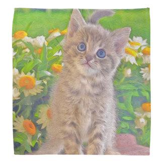 Kitten and Flowers Bandana