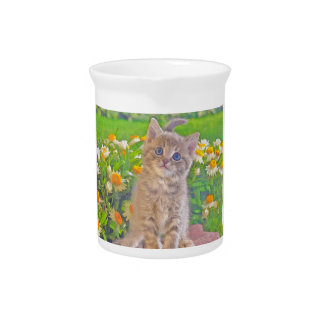 Kitten and Flowers Drink Pitcher
