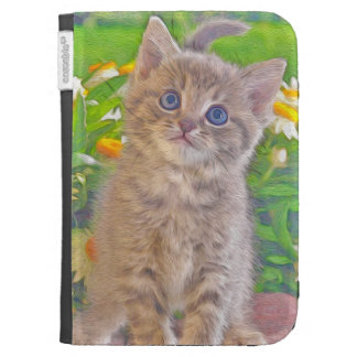 Kitten and Flowers Kindle 3 Case