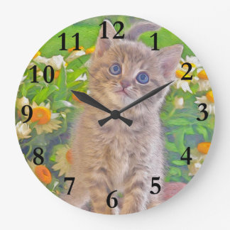 Kitten and Flowers Large Clock