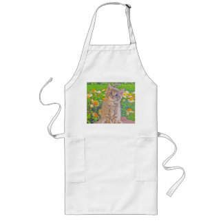 Kitten and Flowers Long Apron