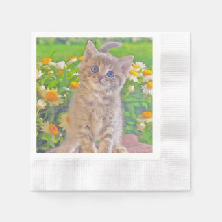 Kitten and Flowers Paper Napkin