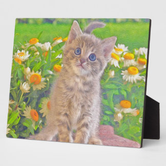 Kitten and Flowers Plaque