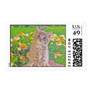 Kitten and Flowers Stamps