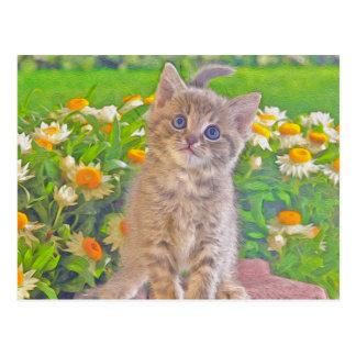 Kitten and Flowers Postcard