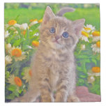 Kitten and Flowers Printed Napkin