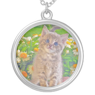 Kitten and Flowers Silver Plated Necklace