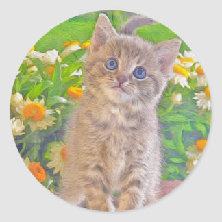 Kitten and Flowers Classic Round Sticker
