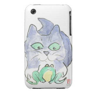 Kitten and Frog iPhone 3 Case-Mate Cases