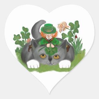 Kitten and Leprechaun Find a Four Leaf Clover Heart Sticker