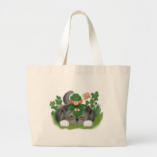 Kitten and Leprechaun Find a Four Leaf Clover Large Tote Bag