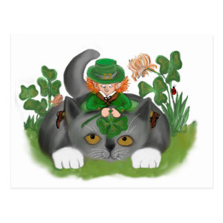 Kitten and Leprechaun Find a Four Leaf Clover Postcard