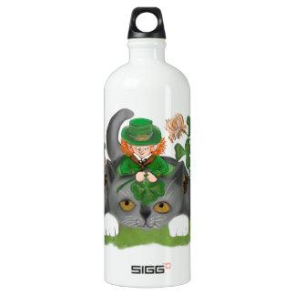 Kitten and Leprechaun Find a Four Leaf Clover Water Bottle