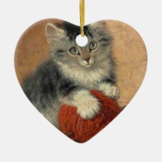 Kitten and muffler ceramic ornament