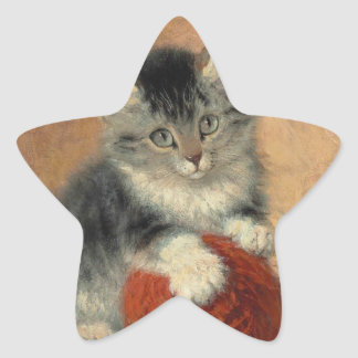 Kitten and muffler star sticker