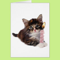Kitten and one pink birthday candle card