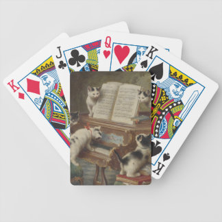Kitten and piano bicycle playing cards