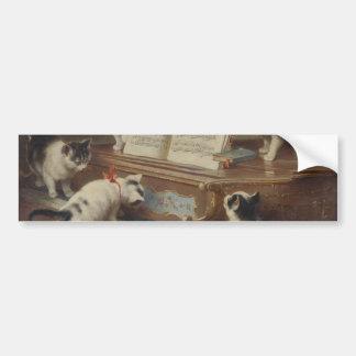 Kitten and piano bumper sticker