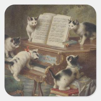 Kitten and piano square sticker