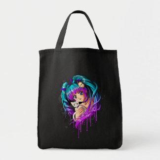 Kitten and Pigtail Manga Girl Tote Bag