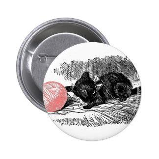 Kitten and Pink Yarn 2 Inch Round Button